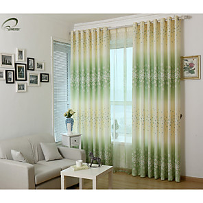 cheap Curtains Drapes-Blackout Curtains Drapes One Panels Bedroom Polyester Print & Jacquard