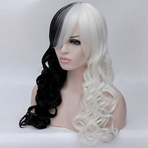 cheap Synthetic Lace Wigs-Cosplay Costume Wig Synthetic Wig Curly Asymmetrical Wig Long Natural Black Synthetic Hair Women's Natural Hairline African American Wig Black White