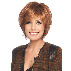 cheap Synthetic Lace Wigs-Human Hair Wig Short Curly Short Hairstyles 2020 With Bangs Curly Side Part Capless Women's Blonde Brown With Blonde Black 8 inch