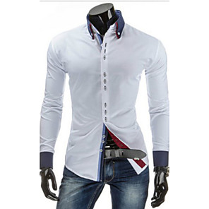cheap Flashlights & Camping Lanterns-Men's Daily Shirt Solid Colored Basic Long Sleeve Slim Tops Button Down Collar White Black Red