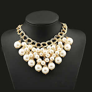 cheap Pearl Necklaces-Women's Statement Necklace Statement Tassel European Fashion Pearl Alloy Screen Color Necklace Jewelry For Party Special Occasion Birthday Gift