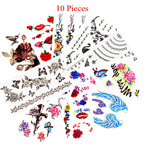 cheap Tattoo Stickers-10pcs mixed patterns temporary tattoos sticker women girl flower tattoos arm neck tattoos