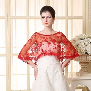 cheap Wedding Wraps-Sleeveless Capelets Lace / Tulle Wedding / Party Evening Wedding  Wraps With Appliques / Lace