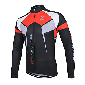 cheap Cycling Jerseys-Arsuxeo Men's Long Sleeve Cycling Jersey Winter Polyester White Black Purple Patchwork Bike Jacket Jersey Top Mountain Bike MTB Road Bike Cycling Breathable Quick Dry Anatomic Design Sports Clothing