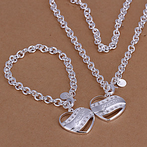 cheap Bike Frame Bags-Jewelry Set Pendant Necklace Heart Love Party Link / Chain Fashion Cubic Zirconia Silver Plated Earrings Jewelry Silver For Party Special Occasion Anniversary Birthday Gift