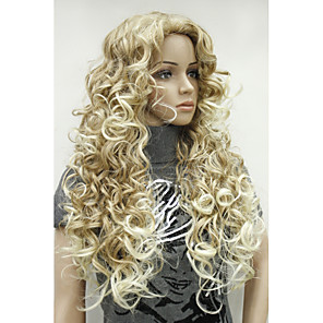 cheap Synthetic Trendy Wigs-Synthetic Wig Curly Curly Wig Blonde Long Synthetic Hair 26 inch Women's Ombre Hair Side Part Blonde