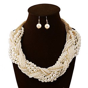 cheap Jewelry Sets-Women's Jewelry Set Statement Necklace Layered Seed Pearls Chinese Knot Statement Ladies Vintage Party Work Casual Pearl Earrings Jewelry Pearl White For Wedding Party Special Occasion