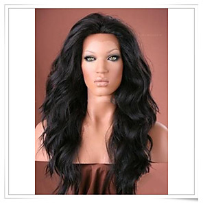 cheap Synthetic Lace Wigs-Synthetic Wig Natural Wave Natural Wave Lace Front Wig Natural Black Dark Brown Medium Brown Synthetic Hair Black Brown
