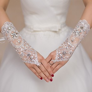 cheap Wedding Shoes-Lace Elbow Length Glove Bridal Gloves / Party / Evening Gloves / Flower Girl Gloves With Rhinestone / Sequin