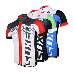 cheap Cycling Jerseys-Arsuxeo Men's Short Sleeve Cycling Jersey White+Red Black / Green Black / Blue Patchwork Bike Jersey Top Mountain Bike MTB Road Bike Cycling Breathable Quick Dry Anatomic Design Sports Clothing