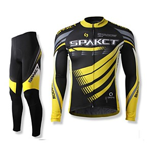 cheap Cycling Jersey & Shorts / Pants Sets-SPAKCT Men's Long Sleeve Cycling Jersey with Tights Winter Polyester Black Stripes Bike Clothing Suit Mountain Bike MTB Road Bike Cycling Breathable Quick Dry Sports Clothing Apparel / Advanced