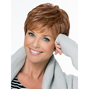 cheap Synthetic Trendy Wigs-Natural Fluffy High Quality Capless Short Wavy Mono Top Human Hair Wigs Twelve Colors to Choose