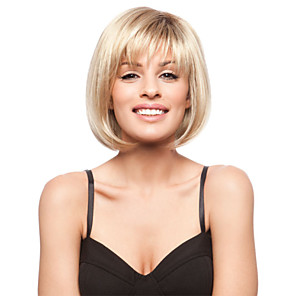 cheap Human Hair Capless Wigs-Human Hair Wig Straight Short Hairstyles 2020 Straight Capless Blonde Brown With Blonde Strawberry Blonde 12 inch