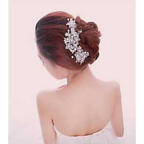 cheap Wedding Slips-Pearl / Crystal / Fabric Tiaras / Headbands / Hair Combs with 1 Wedding / Special Occasion / Party / Evening Headpiece / Flowers / Hair Pin / Alloy