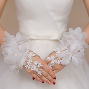 cheap Party Sashes-Lace / Tulle Wrist Length Glove Bridal Gloves / Party / Evening Gloves / Flower Girl Gloves With Rhinestone / Floral