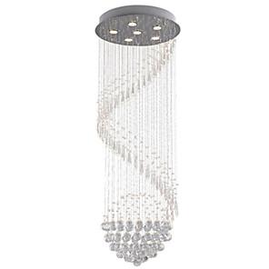 cheap Pendant Lights-6-Light 60cm(23.6inch) Crystal / LED Pendant Light Metal Crystal Electroplated Modern Contemporary 110-120V / 220-240V
