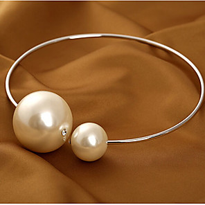 cheap Necklaces-Women's Pearl Choker Necklace Statement Necklace Ladies Basic Fashion Bridal Pearl Alloy Gold Silver Necklace Jewelry For Wedding Party Birthday Gift Daily / Pearl Necklace / Oversized