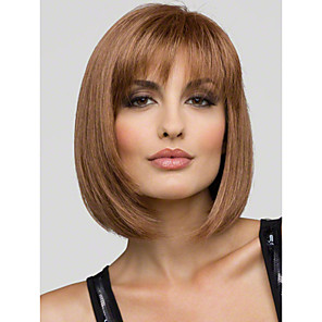 cheap Human Hair Capless Wigs-Human Hair Wig Short Straight Bob Short Hairstyles 2020 Straight With Bangs Capless Women's Blonde Brown With Blonde Strawberry Blonde 12 inch