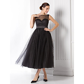 cheap Evening Dresses-A-Line Vintage Black Wedding Guest Cocktail Party Dress Illusion Neck Sleeveless Tea Length Tulle with Pattern / Print 2020