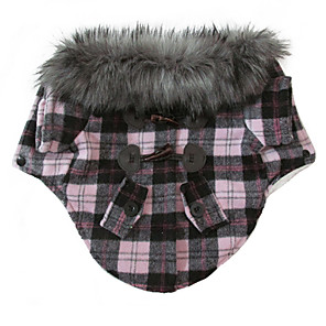 cheap Dog Clothes-Cat Dog Coat Jacket Winter Dog Clothes Red Pink Costume Cotton Mixed Material S M L XL