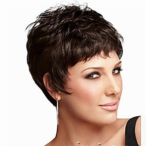 cheap Synthetic Trendy Wigs-Synthetic Wig Straight Kardashian Layered Haircut Short Bob Wig Short Black Synthetic Hair Women's Natural Hairline Black
