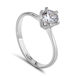 cheap Bike Frame Bags-Women's Statement Ring Synthetic Diamond Silver Golden Crystal Cubic Zirconia Platinum Plated Ladies Fashion Bridal Wedding Party Jewelry Solitaire Round Cut Simulated / Alloy