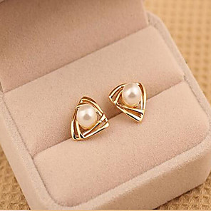 cheap Earrings-Women's Pearl Stud Earrings Geometrical Ladies Pearl Imitation Pearl Earrings Jewelry Gold / White For Wedding Masquerade Engagement Party Prom Promise