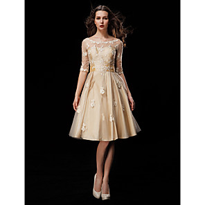 cheap Wedding Party Dresses-A-Line Wedding Dresses Scoop Neck Knee Length Taffeta Tulle Half Sleeve Vintage See-Through Illusion Sleeve with Sash / Ribbon Beading Appliques 2020