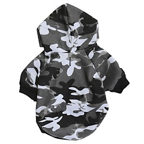 cheap Dog Clothes-Cat Dog Hoodie Camo / Camouflage Casual / Daily Fashion Winter Dog Clothes Gray Costume Cotton XS S M L