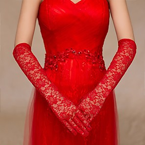cheap Party Gloves-Lace / Cotton Wrist Length / Elbow Length Glove Charm / Stylish / Bridal Gloves With Embroidery / Solid