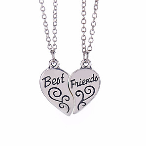 cheap Fine Jewelry-Men's Women's Pendant Necklace Monogram Engraved life Tree Best Friends Friendship Relationship Personalized Religious Jewelry Friendship Simple Style Alloy Silver Necklace Jewelry For Daily Casual