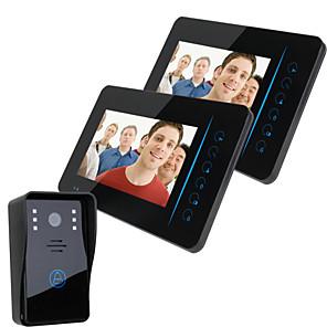 "cheap Video Door Phone Systems-ENNIO 7"" TFT 2.4G Wireless Video Door Phone Intercom Doorbell Home Security 1 Camera 420TVL CMOS 3.6mm 2 Monitor Hands-free Desktop Mount Wall Mounted LCD Display Monitor"