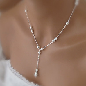 cheap Jewelry Sets-Women's Pearl Pendant Necklace Pearl Necklace Rosary Chain Drop Dainty Simple Basic Elegant Pearl Imitation Pearl Alloy Necklace Jewelry For Wedding Party Anniversary Gift Daily Casual