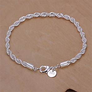 cheap Bracelets-Women's Chain Bracelet Twist Prince Of Wales Twisted Baht Chain Snake Cheap Ladies Basic Fashion Italian everyday Sterling Silver Bracelet Jewelry Silver For Wedding Party Daily