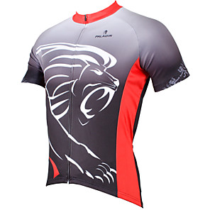 cheap Cycling Jerseys-ILPALADINO Men's Short Sleeve Cycling Jersey Polyester Grey Animal Lion Bike Jersey Top Mountain Bike MTB Road Bike Cycling Breathable Quick Dry Ultraviolet Resistant Sports Clothing Apparel