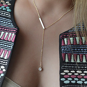 cheap Necklaces-Women's Crystal Y Necklace Layered Necklace Floating Drop Dainty Ladies Simple Style Fashion Synthetic Gemstones Alloy Screen Color Necklace Jewelry For Special Occasion Birthday Gift