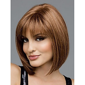 cheap Synthetic Trendy Wigs-Synthetic Wig Straight Straight Bob With Bangs Wig Short Brown Synthetic Hair Women's Brown StrongBeauty
