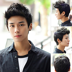 cheap Toupees-Men's Fashion High Quality Black Short Hair Synthetic Wig