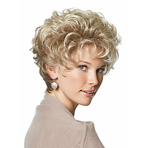 cheap Synthetic Trendy Wigs-Synthetic Wig Curly Curly Asymmetrical Wig Blonde Short Blonde Synthetic Hair Women's Ombre Hair Blonde