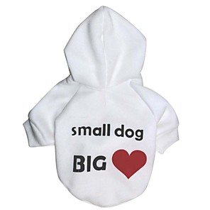 cheap Dog Clothes-Cat Dog Coat Hoodie Dog Clothes Heart Letter & Number White Polar Fleece Cotton Costume For Winter Cosplay