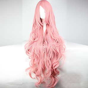 cheap Costume Wigs-Synthetic Wig Cosplay Wig Wavy Kardashian Wavy Asymmetrical With Bangs Wig Pink Long Pink Synthetic Hair Women's With Bangs Pink