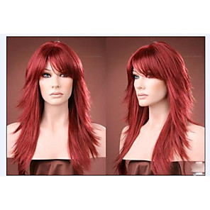 cheap Synthetic Trendy Wigs-Synthetic Wig Curly Curly Layered Haircut With Bangs Wig Long Synthetic Hair Women's Red StrongBeauty