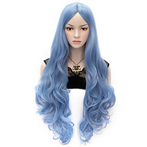 cheap Synthetic Trendy Wigs-Synthetic Wig Cosplay Wig Wavy Body Wave Body Wave Wig Very Long Blue Synthetic Hair Women's Blue
