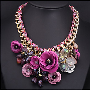 cheap Jewelry Sets-Women's Pendant Necklace Statement Necklace Flower Flower Ladies Colorful Color Synthetic Gemstones Resin Gold Plated Purple Red Blue Pink Green Necklace Jewelry For Party