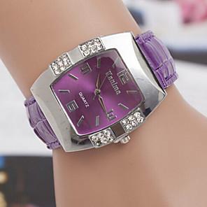 cheap Quartz Watches-Women's Fashion Watch Diamond Watch Square Watch Quartz Ladies Casual Watch Leather Black / Blue / Pink Analog - White Black Purple One Year Battery Life / SOXEY SR626SW