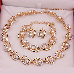 cheap Jewelry Sets-Women's Jewelry Set Fashion Pearl Earrings Jewelry Golden For Wedding Party Special Occasion Anniversary Birthday Gift / Daily / Necklace / Engagement