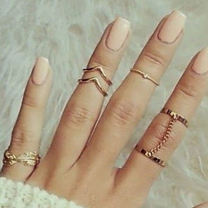 cheap Rings-Women's Knuckle Ring Pinky Ring Gold Silver Alloy Classic Fashion Party Party / Evening Jewelry Contour Leaf Princess Cheap