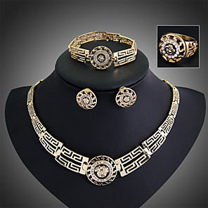 cheap Jewelry Sets-Women's Jewelry Set Stud Earrings Pendant Necklace Statement Ladies Vintage Party Work Casual Cubic Zirconia Austria Crystal Earrings Jewelry Gold For Party Special Occasion Anniversary Birthday Gift