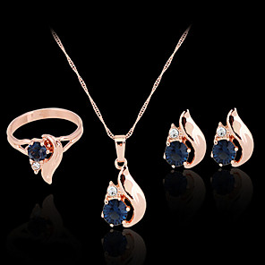 cheap Jewelry Sets-Synthetic Diamond Jewelry Set Stud Earrings Pendant Necklace Ladies Party Work Fashion Colorful Zircon Cubic Zirconia Imitation Diamond Earrings Jewelry Rose Gold For Party Special Occasion