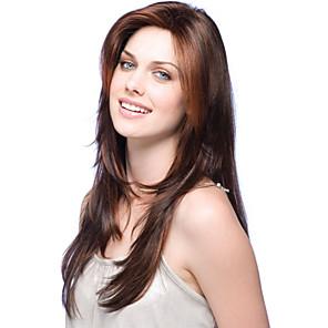cheap Human Hair Capless Wigs-Human Hair Wig Long Wavy Layered Haircut With Bangs Wavy Side Part Capless Brazilian Hair Women's Blonde Dark Brown Medium Auburn 24 inch / 8A